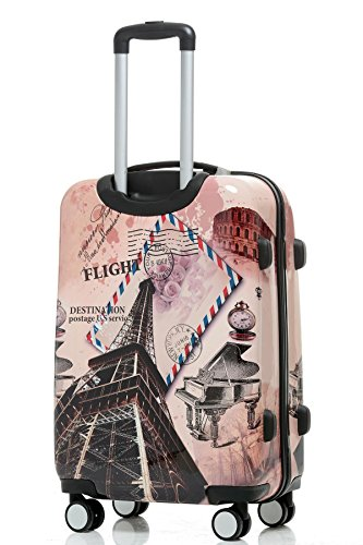 Polycarbonat Hartschale Koffer 2060 Trolley Reisekoffer Reisekofferset Beutycase 3er oder 4er Set in 12 Motiven (Tower) - 3