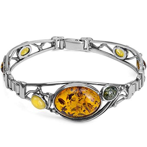 Ciondolo in argento Sterling con ambra multicolore ovale bracciale 18cm