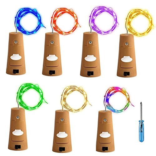 Tesan Luci per Bottiglie,Bottiglia di vino sughero luce, 2 meter 20 LEDs Luce Notturna LED bottiglia di vino festa di matrimonio romantico Deko ,7 colori ,7 pezzi