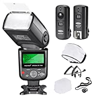 Neewer Pro I-TTL Auto-Focus Flash Compatibile con i-TTL Nikon flash automatico. Dispone di un diffusore grandangolare e built-in pannello riflettore. Dispone di un sensore wireless trigger per l'utilizzo del flash secondario. Presa di ricarica per...