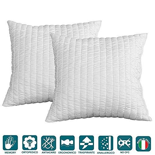 Evergreenweb - Coppia Cuscini 50x50 alti 12cm in Memory Foam da Letto o Arredo Divano Sofa...