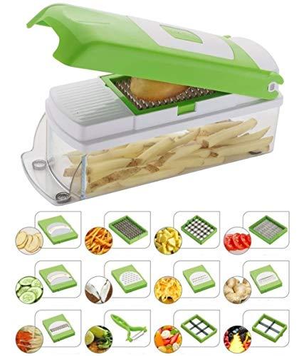 NOVEL Vegetable & Fruit Chipser with 11 Blades + 1 Free Peeler Inside, Vegetable Chopper, Vegetable Slicer (11 Blades + 1 Pillar)
