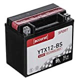 Accurat Motorradbatterie YTX12-BS 10Ah 180A 12V AGM Starterbatterie in Erstausrüsterqualität leistungsstark rüttelfest ABS geeignet wartungsfrei
