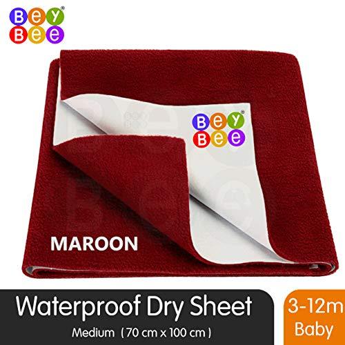 BeyBee Premium Quick Dry Mattress Protector Baby Cot Sheet (Medium, Maroon)