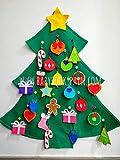 HECHO EN ESPAÑA,Árbol de Navidad de fieltro, Árbol de Navidad para niños, Árbol de Navidad de pared, Contiene 24 adornos a modo de adviento BABYBOOKSPAIN