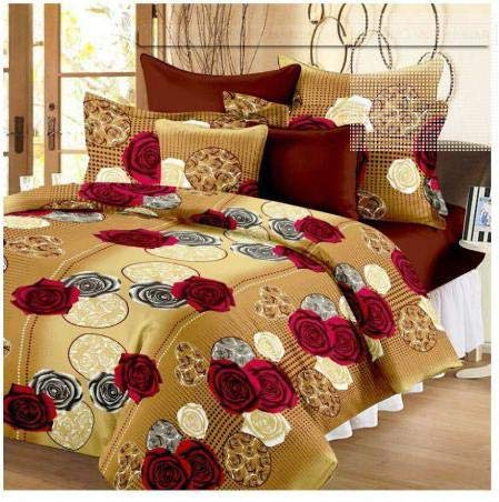 Panipat Textile Hub 100% Cotton Double BedSheet for Double Bed with 2 Pillow Covers Set, Queen Size Bedsheet Series, 140 TC, 3D Printed Pattern 2