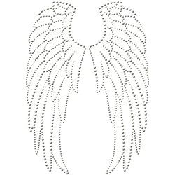 Transferencia de strass termoadhesivas de tachuelas y alas de ángel, 18 x 26 cm, Ki-Sign
