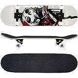 FunTomia® Skateboard monopatín rodamientos Mach1® y Rodillos de dureza 100A - Hecho con 7 Capas de Madera 100% Arce Canadiense (Blanco/cráneo)