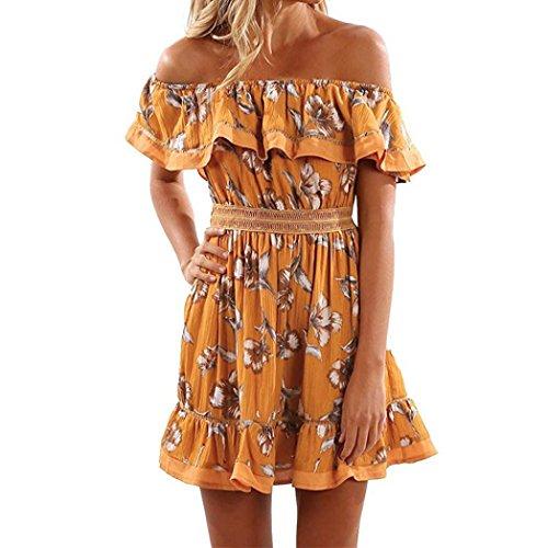Vestido de mujer Señoras Sexy Fuera del hombro Impresión Mariposa Drapeado Sin tirantes playa Casual Elegante Gasa Paseo Cóctel Vestido de tirantes Mini vestido corto Vestido de noche Blusa LMMVP (M, Amarillo)