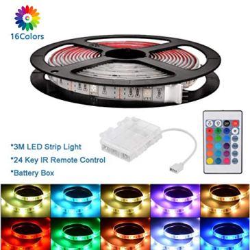 3M RVB LED bandes LED lumières 5050 étanche rétro-éclairage TV avec boîte à piles et 24 touches contrôleur IR pour la décoration de Noël intérieur éclairage intérieur à la maison