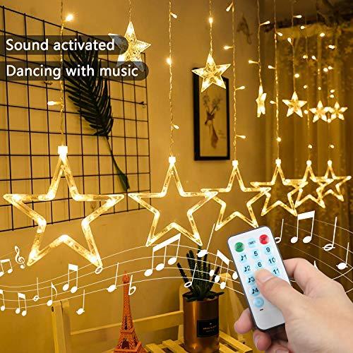 Four Heart Catena luminosa a stelle, 2M, 12 Stelle, 138 luci, Tenda a Stella con Funzione di Ritmo Musicale, Telecomando per Esterni/Natale/Party
