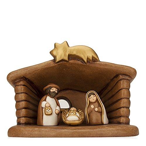 THUN Set Capanna e Sacra Famiglia Presepe-Decorazioni Natalizie-Ceramica-19 cm h, PVC