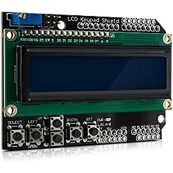 kwmobile Módulo para Arduino LCD - Pantalla con 5 teclas - Display keypad 2 x 16 - Placa de pruebas para Arduino Uno Diecimila y Duemilanove