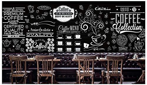 foto wallpaper Europeo nero bianco retro lavagna dipinto a mano bar torta tè negozio di dolci...