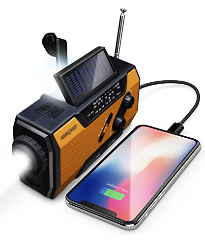 FosPower FosPower Emergency Solar Hand Crank Portable Radio, NOAA Weather Radio for Household and Outdoor Emergency with AM/FM, LED Flashlight, Reading Lamp, 2000mAh Power Bank USB Charger and SOS Ala
