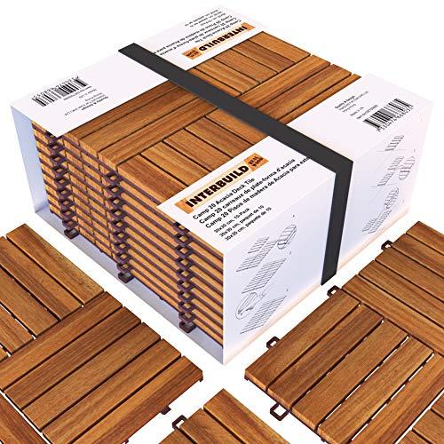 Piastrelle a incastro in legno di acacia, facili da installare,Per Deck, Patio e Balcone, 30 x 30...