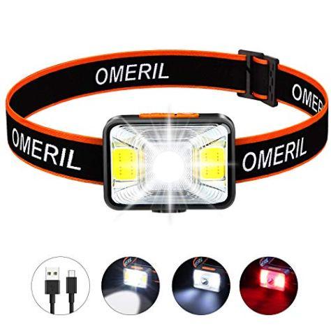 OMERIL Stirnlampe LED Wiederaufladbar USB Kopflampe Stirnlampe Kinder, Sehr hell, wasserdichte Mini Stirnlampe Rotlicht für Joggen, Laufen, Campen, Angeln [ inkl. USB Kabel ]