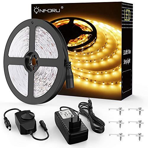 Onforu 10M Striscia LED Dimmerabile 600 Unità SMD2835, 3000K Bianca Calda, Adattatore e...
