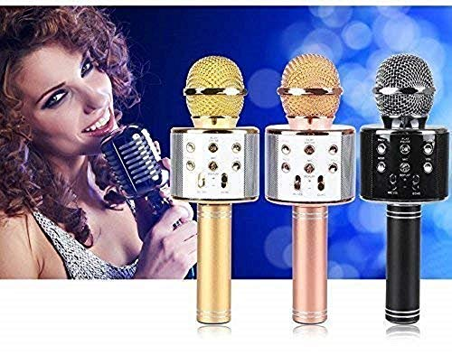 Intelligent WS-858 Wireless Bluetooth Microphone Recording Condenser Handheld Microphone Stand with Bluetooth Speaker Audio Recording for All Android and iOS Devices {Random Colour}