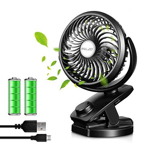 ELZO Mini Ventilatore con Clip, Ventilatore USB da Tavolo e 4800mA Batteria, Silenzioso Ventilatore...