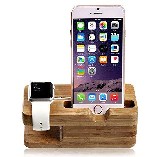 Lamavido® Compatible for Apple Watch Stand, Lamavido Soporte de iWatch Soporte Cargador Madera de Bambú para iPhone 6 Plus/6/5S/5/4S
