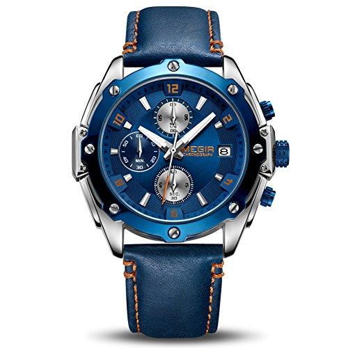 MEGIR Orologi da Uomo Cronografo Analogico al Quarzo Con Cinturino in Pelle e Calendario Automatico Luminoso Funzione