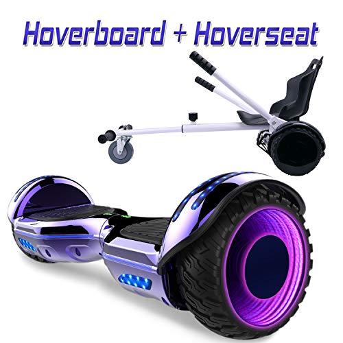COLORWAY Hoverboard SUV 6.5 Pouces,Gyropode Tout-Terrain avec Roues LED Flash, Haut-parleur Bluetooth et LED, Scooter Électrique Auto-équilibrage + Hoverkart