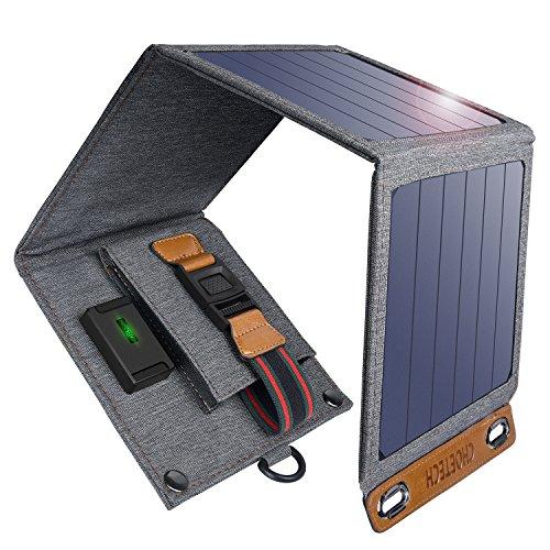 CHOETECH Cargador Solar, 14W Panel Solar Cargador Portátil Impermeable Placa Solar Power Bank Compatible con Teléfonos Samsung, iPhone, Huawei, iPad, Altavoz, Cámara, Tableta, Altavoz Bluetooth etc.