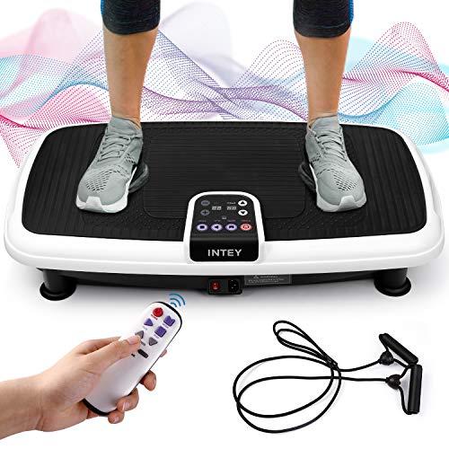 INTEY Plateforme Vibrante Oscillante pour Fitness, 6 en 1 Multifonctions/2 Bandes Elastiques/3 Zones de Vibration/20 Niveaux de Vitesse, Contrôlé par Ecran/Télécommande, Conception Antidérapante