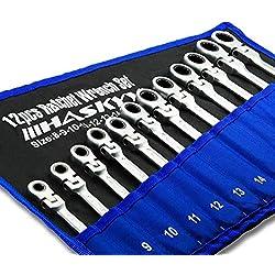 Juego de llaves trinquete articuladas de 12 piezas I Juego de 8-19 mm I Llave de boca de trinquete