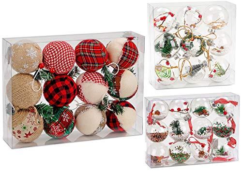 BRUBAKER Set di 12 Baubles di Natale ricoperte di Juta - Decorazioni addobbi Natalizi - Ø 8 cm