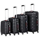 Monzana Baseline 4er Set Koffer |Schwarz S, M, L, XL|Gelgriffe Zahlenschloss| Reisekoffer Trolley Kofferset Rollkoffer