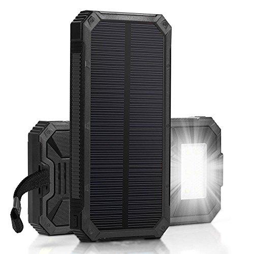 Ifitechã'® 15000Mah Solar Power Bank Portable Dual Usb Outdoor External Battery Pack For Iphone, Samsung (Black)