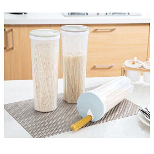 BESTOMZ Lebensmittel Lagerung Spaghetti Nudeln Container Aufbewahrungsbox für Getreide Getreide Haferflocken Nüsse Bohnen (hellblau)