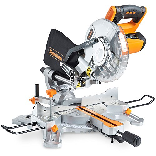 """Now, if you need a tool at a pocket-friendly price, the VonHaus 1500W 8"""" (210mm) Sliding Mitre Saw suits the bill. This sliding mitre saw is capable of cutting through hardwood, plastics, and laminates. On top of that, it cuts material at different angles up to 45o in either direction thanks to its rotating mitre table. A dust bag is included to catch debris and a wood clamp to steadily support workpieces. You can also be sure of making accurate cuts due to its built-in laser guide system. This is a good choice for light-duty applications and more of a DIY tool than a professional's companion."""
