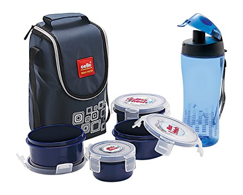Cello Classy Combo Lunch Box with Bag Set, 7-Pieces, Blue