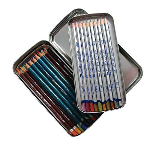 Derwent Pencil Tin, Scatola in Metallo a Doppio Strato con Capacità di 42 Matite