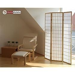 Homestyle4u 3 fach Paravent Raumteiler - Holz Trennwand Shoji in natur Reispapier weiß