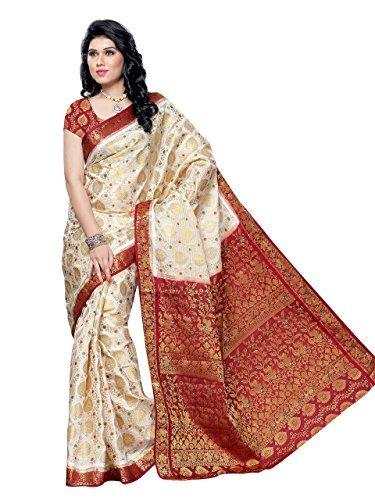 Kenil Fabrics Women Silk Lehenga Choli(kenil-162_cream_Free Size)