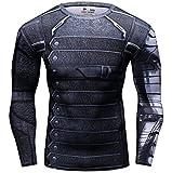 Cody Lundin® Uomo Sport Maglietta Winter Warrior Maniche Lunga Stretto Base Layer Palestra Muscolo (M)