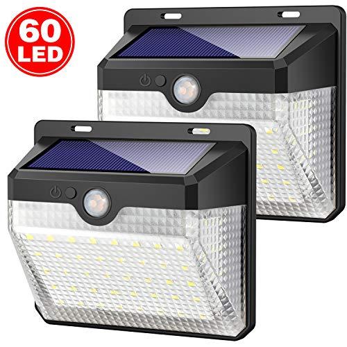 Luce Solare Esterno, Kilponen 60 LED Lampada Solare con Sensore di Movimento [2000mAh] Luci Solari...