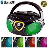 LAUSON CP452 CD-Player mit Bluetooth Funktion | USB-Port | Mp3 | Tragbares Stereo Radio | Kinder Radio mit LED-Beleuchtung | CD-Radio | Stereoanlage (Schwarz)