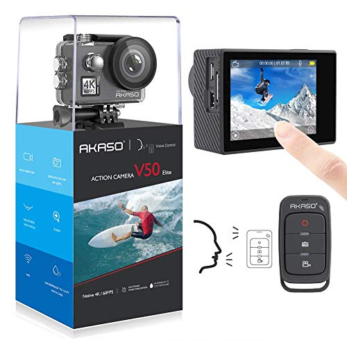 AKASO Native 4K/60fps 20MP WiFi Action Camera,Comandi Vocali,Garanzia di 12 Mesi, 40m Impermeabile, 8 Volte Zoom, Angolo Variabile,Telecomando con Batterie 1050mAh x2 (V50 Elite)