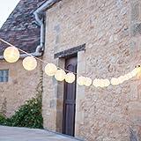 Lights4fun 20er Lampion LED Lichterkette warmweiß koppelbar Innen Außen