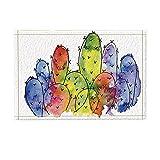 Alfombra Cactus Colorida De Dibujos Semi Abstractos