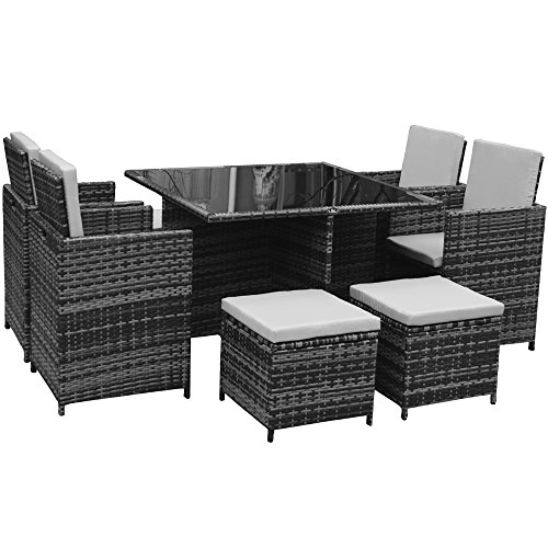 Polyrattan Lounge Gartenmöbel Set in grau
