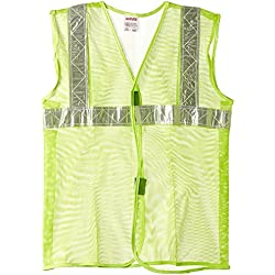 "Aarvee Safety Jacket 2"" Reflective Tape Green Net 50 gsm (Pack of 1)"