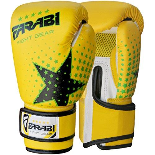 Farabi Guantoni da Boxe, MMA, Muay Thai, per Bambini, Colore Giallo, 6 oz, Marca