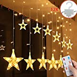 Salcar LED Lichtervorhang 12 Sterne Lichterkette wasserdicht für Fenster, Garten, Haus, LED Sternenvorhang Dekorative, IR Fernbedienung LED Lichterkette 31V Sicherheitsnetzteil - Warmweiß