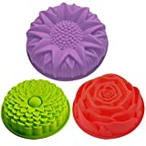 SENHAI 3 Pack Flower Shape Silicone Cake Bread Pie Flan Tart Molds, Large Round Sunflower Chrysanthemum Rose Shape Non-Stick Baking Trays for Birthday Party DIY - Green,Red,Purple